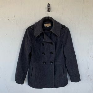 Michael Kors Gray Wool Button Pea Coat Jacket